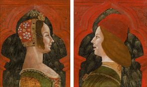 Lombardische Schule Portrait of a nobleman and a lady in profile (counterparts), c. 1480