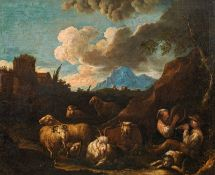 Circle of Philipp Peter Roos, genannt Rosa da Tivoli, Shepherds with sheep and cows making m