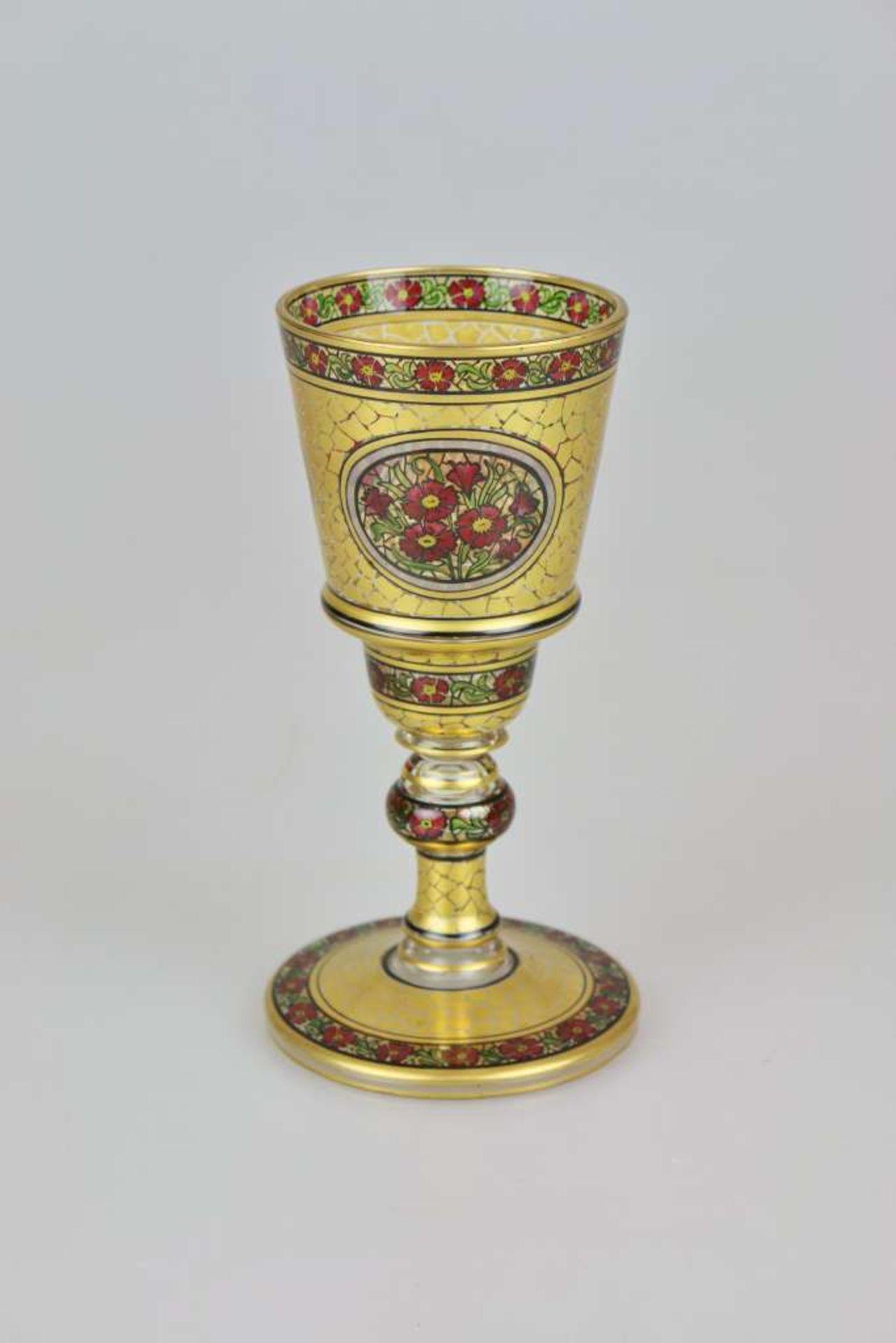 Glaspokal, Julius Mühlhaus & Co, Haida, Goldauflage mit in gerahmten Medaillons eingefügten