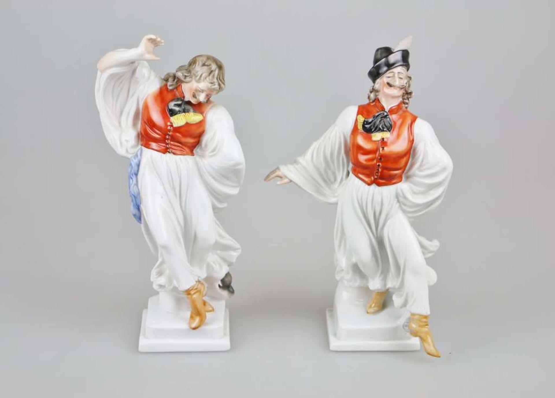 Paar Herend Porzellanfiguren ¨Ungarische Puszta-Tänzer in traditioneller Tracht¨, 2. H. 20.