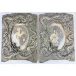 Paar Bilderrahmen mit Drachenrelief, China, um 1900, Bronze und Holz, Maße: ca. 18 x 24 cm, ve