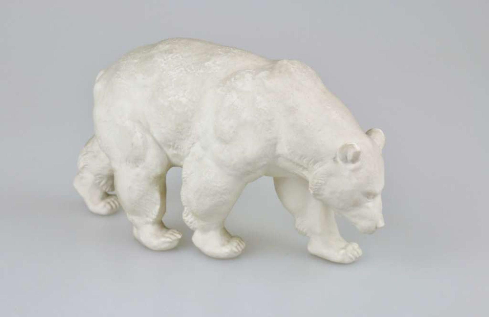 Hutschenreuther, großer schreitender Bär, Bisquitporzellan, Mitte 20. Jh., Entwurf wohl Karl