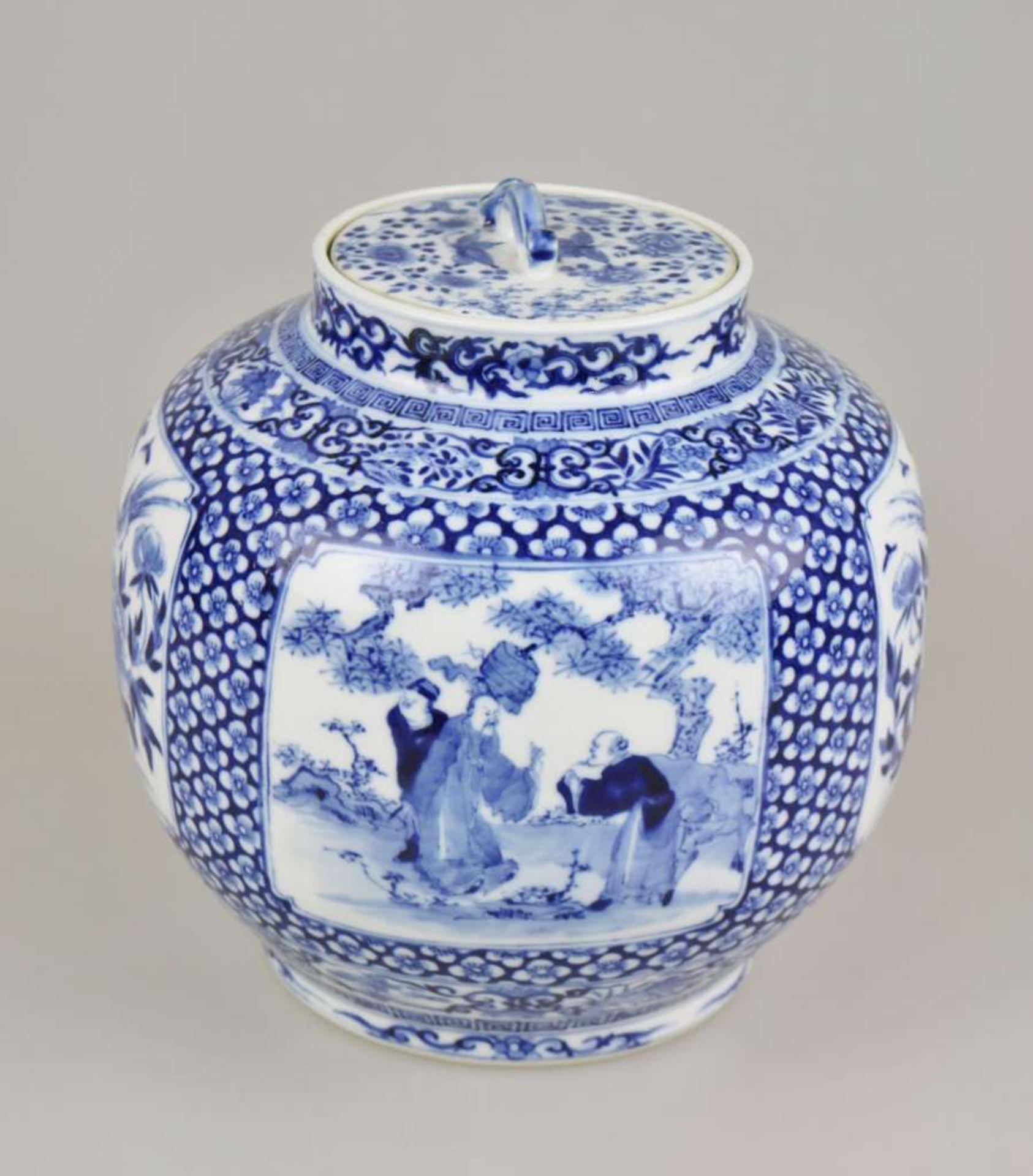 Großer Topf, China, Blau-Weiß mit Flachdeckel, Qing-Dynastie (1644-1911). Kugeliger, leicht g - Bild 2 aus 6