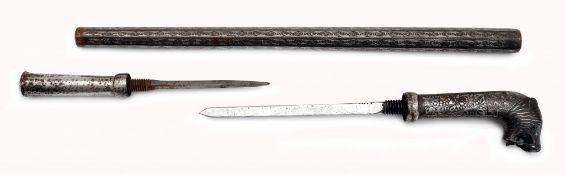 Zeremonieller Kolben (Gupti) mit zwei versteckten Stilettklingen
