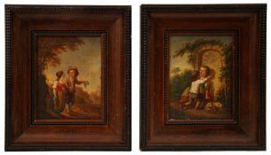 Paar Gemälde, Verliebte Kinder in Landschaft, Johann Conrad Seekatz (zugeschreiben)