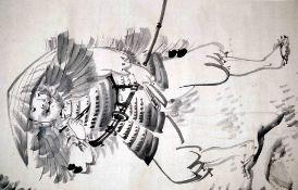 Samurai Kojima Takanori, der ein Gedicht auf einem Sakura-Stamm schreibt
