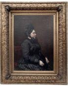 Porträt einer Dame in einem schwarzen Kleid, Vaclav Brozik