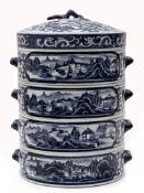 Blau-weißes gestuftes Schüsselset mit Deckel