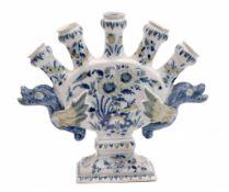 Holländische polychrome Delfter Tulpenvase mit 5 Tüllen von David Kam