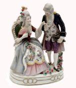 Volkstedt; Deutsche Porzellan: Figur-Skulptur, ein galantes Paar