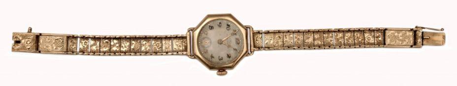 Achteckige Damen-Armbanduhr IWC mit Goldarmband