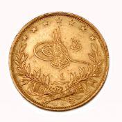 Gold, 100 Kurus Muhammad V, 1327/4 (1913)