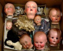 Großes Konvolut Puppenköpfe