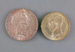 2 Silber.Münzen Belgien /Rumänien