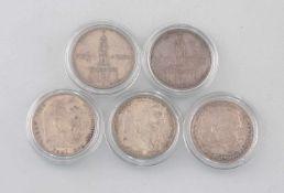 5 Silber-Münzen 5 Mark Deutsches Reich 1935-38