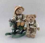 2 Teddys mit Schaukel-Pferd
