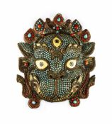 Large temple mask in the shape of the monkey god Hanuman