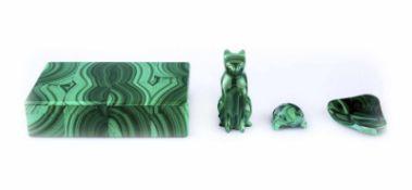 A malachite box and 3 small figures