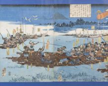 Color woodcut, samurai ferry with rafts