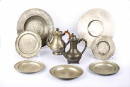 Large set of pewter objects