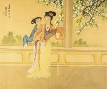 Set of Chinese silk paintings