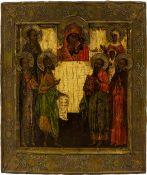 Ikone 'Veehrung der Gottesmutter von Kazan'Zentralrussland, 18. Jahrhundert, Messingbasma und