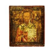 Ikone 'Heiliger Nikolaus'Russland, 19. Jahrhundert, Tempera auf Holz, 35 cm x 30,5 cm, mit starken