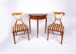 Konvolut Biedermeier-Möbel6-tlg., Biedermeier, Kirschbaum, furniert, Paar Stühle, Höhe 83,5 cm, 2