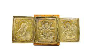 Triptychon-Ikone 'Deesis'Russland, 19. Jh., Bronze, Holzrücken (neueren Datums), 17,5 cm x 15 cm,