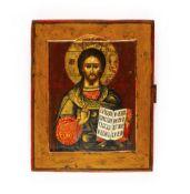 Ikone 'Christus Pantokrator'Russland, 19. Jahrhundert, Tempera auf Holz, Kowtscheg, 22 cm x 17,8 cm,