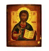 Ikone 'Christus Pantokrator'Russland, um 1900, Tempera auf Holz, Kowtscheg, 30,5 cm x 26 cm,