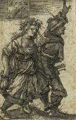 Hans Sebald Beham (1500 - 1550)Das tanzende Bauernpaar, Kupferstich auf Papier, 1522, 7,8 x 5 cm,