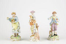 Konvolut Porzellanfiguren3-tlg., Sächsische Porzellan-Manufaktur Dresden, 20. Jh., Porzellan,