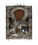 Ikone 'Heiliger Nikolaus' mit Silber-RisaRussland, St. Petersburg, 1848, Tempera auf Holz, 875