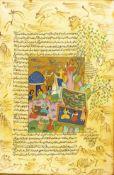 Konvolut Indo-Persische Buchmalereien2-tlg., Persien, Tinte und Deckfarbe auf Papier, einseitiges