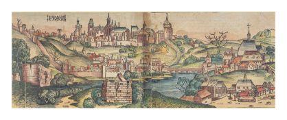Hartmann Schedel (1440 Nürnberg - 1514 ebenda)Prag/ Praha, Holzschnitt, altkoloriert, auf Papier,