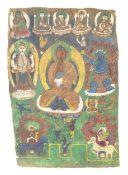 Thangkavermutlich Tibet, wohl 18. Jahrhundert., auf Leinen, 62 cm x 43 cm, altersbedingter