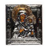 Ikone 'Maria mit Kind' mit Silber-OkladRussland, St. Petersburg, 19. Jahrhundert, Tempera auf