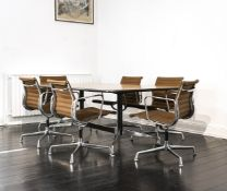 Konvolut Eames Design Möbel7-tlg., 'Segmented Table Dining', Vitra, Entwurf von Charles & Ray Eames,