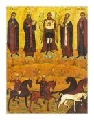 Ikone 'Erzengel Michael mit Florus und Laurus'Russland, um 1800, Eitempera auf Holz und lasierter