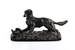 Kunstgießerei Kasli (20. Jh. Russland)Hund mit Rebhuhn, Eisen, schwarz patiniert, Höhe 16 cm,
