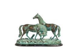 Leonardo Rossi (20. Jh.)Pferdepaar, Bronzeguss, partiell grün patiniert, auf Marmorsockel, Höhe 36