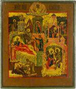 Ikone 'Der heilige Mitrofan von Woronesh mit Gottesmutter Iwerskaja'Russland, 19. Jahrhundert,