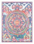 ThangkaTibet/ Nepal, 19. Jh, polychrome Bemalung auf textilem Grund, 45 cm x 35 cm