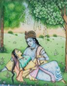Elfenbein-Miniaturmalerei4-tlg., Persien, Indien, 19. Jh., opake Wasserfarben auf Elfenbein, 10,5