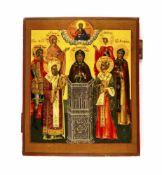 Ikone 'Simeon Stilites' Russland, 19. Jh., Eitempera auf Holz, 31,2 cm x 25,7 cm, partiell mit