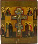 Ikone 'Kreuzigung Christi - Staurothekikone' Zentralrussland, 19. Jahrhundert, Eitempera auf Holz