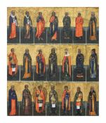 Vielheiligen-Ikone Russland, 1. Hälfte des 19. Jh., Feinmalerei auf Holz, 31 cm x 26,5 cm,