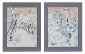 Zwei Porzellanbilder Meissen, nach 1934, Porzellan, bemalt, 35 cm x 26,5 cm Kachelmaß,