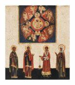 Ikone 'Gottesmutter vom unverbrennbaren Dornbusch mit 4 Heiligen' Russland, 18. Jahrhundert,